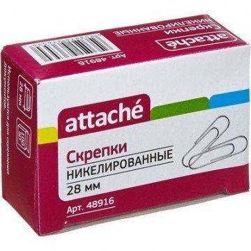 Скрепки Attache, 28 мм, никелированные, 100 шт. в карт.уп, 100 шт, фото 2