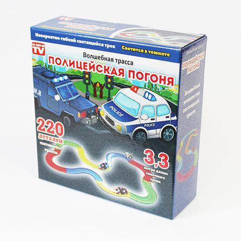 Конструктор-трек с гнущейся светящейся трассой и турбо машинкой Magic Tracks [220 деталей] (Полицейская погоня)