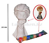 Набор для детского творчества копилка раскраска Эльза «Холодное сердце», кисточка и краски 8 цветов ТВ-532