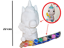 Набор для детского творчества копилка раскраска Единорог, кисточка и краски 8 цветов ТВ-668
