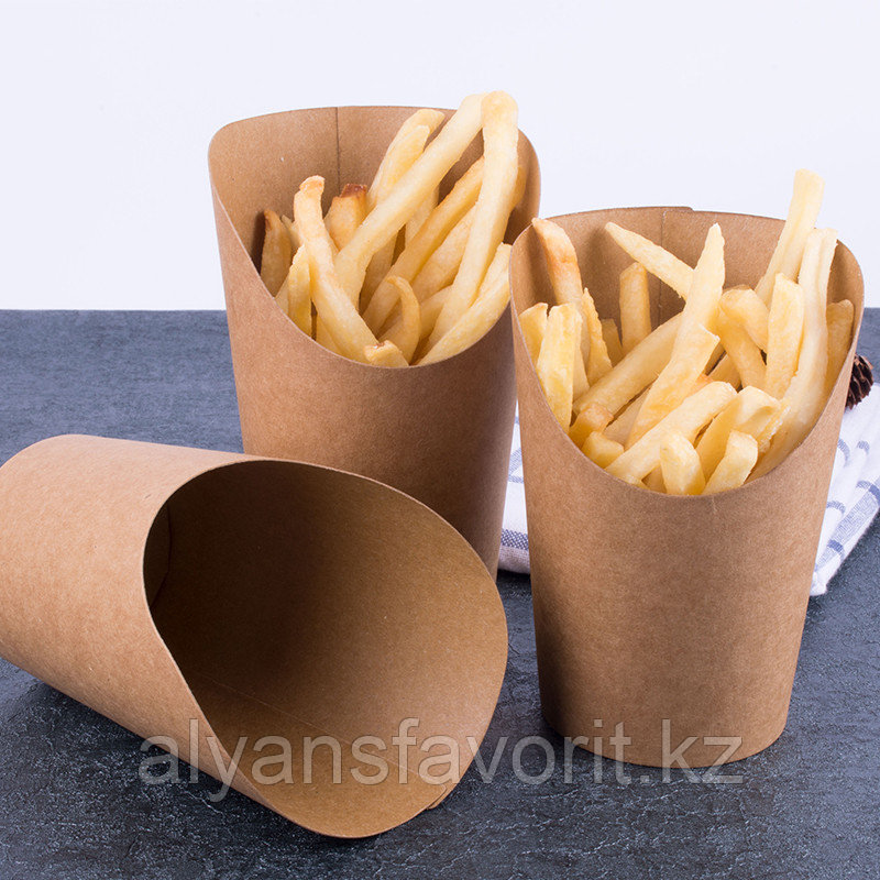ЕcoSnack Cup S - упаковка для картофеля фри,снеков и поп корна. 360 мл. РФ