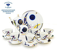 Чайный сервиз Кандинский блюз. Ручная роспись, авторская работа