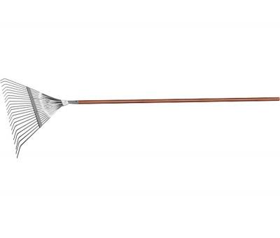Веерные грабли с деревянным черенком, стальные, усилинные, покрытые эпоксидом LUXE