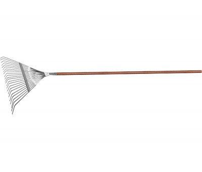 Веерные грабли с деревянным черенком, стальные, усилинные, покрытые эпоксидом LUXE, фото 2