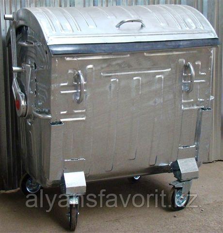 Евроконтейнер для мусора оцинкованный с круглой крышкой на 1100 литров.Беларусь