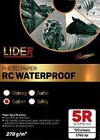 Фотобумага LIDER, односторонняя satin (матовая) профессиональная, 5R, 270 гр., 100 листов