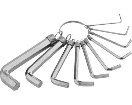 Набор ключей имбусовых HEX, 1,5–10 мм, CrV, 10 шт.,никелированный, на кольце