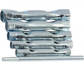 Набор ключей-трубок торцевых, 8 х 17 мм, вороток, оцинкованные, 6 шт.