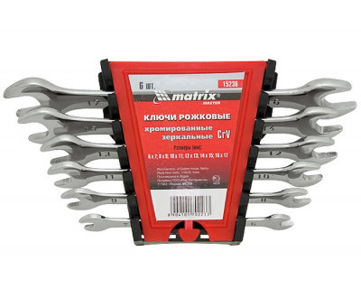 Набор ключей рожковых 12 шт, 6-32 мм, CrV, Elliptical, зеркальный хром Master