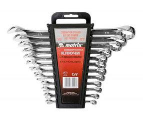 Набор ключей комбинированных 6-22 мм, 12 шт, CrV, полированный хром Matrix
