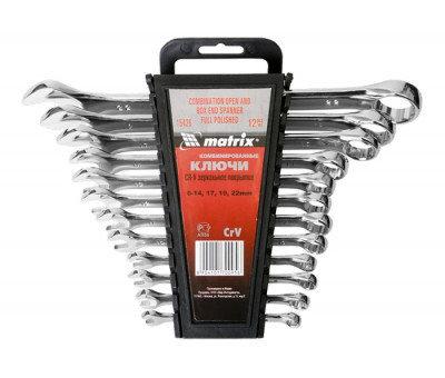 Набор ключей комбинированных 6-22 мм, 12 шт, CrV, полированный хром Matrix, фото 2