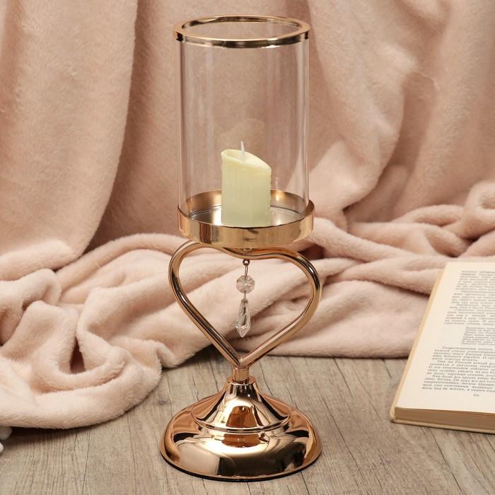 """Подсвечник металл, стекло на 1 свечу """"Сердце с кристаллом"""" золото 33,5х12х12 см"""