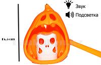 Музыкальный светящийся фонарь тыква внутри череп (высота 15.5)