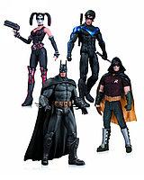 "DC Collectibles ""Batman Arkham City"" Набор фигурок Харли Квинн, Бэтмен, Найтвинг, Робин"