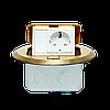 Напольный (Настольный) лючок на 3 модуля 22,5*45, круглый, металл, цвет золото