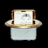 Напольный (Настольный) лючок на 3 модуля 22,5*45, круглый, металл, цвет золото, фото 1