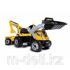 Трактор педальный с двумя ковшами и прицепом, Жёлтый, Smoby 710301