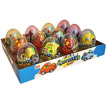 Яйцо с карамелью и игрушкой Машинка Cartoon Car (12 шт в упаковке)