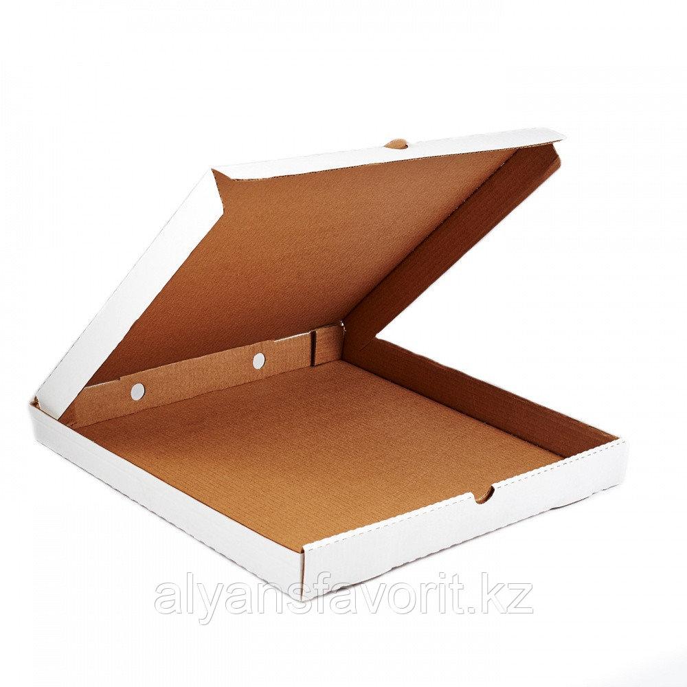 Коробка для пиццы, размер: 400*400*40 мм,гофро, белая. РК