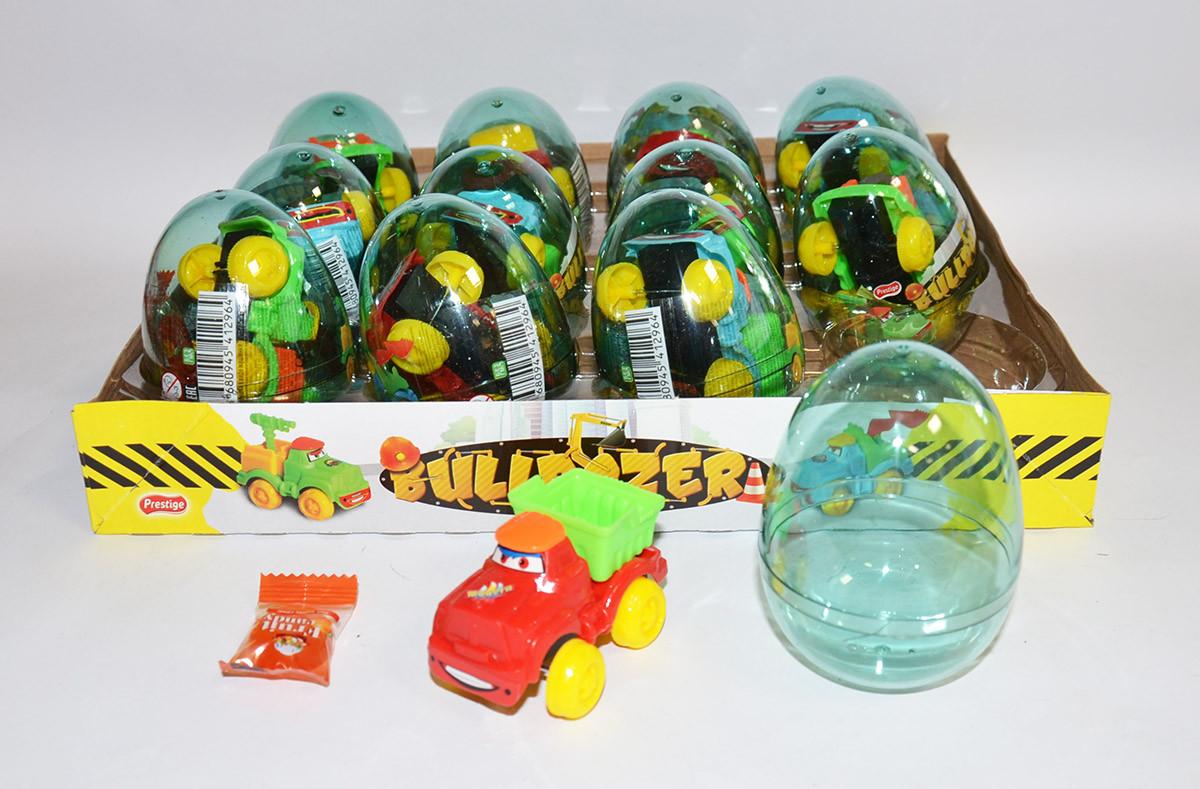 Яйцо с карамелью и игрушкой Бульдозер Bulldozer (12 шт в упаковке)