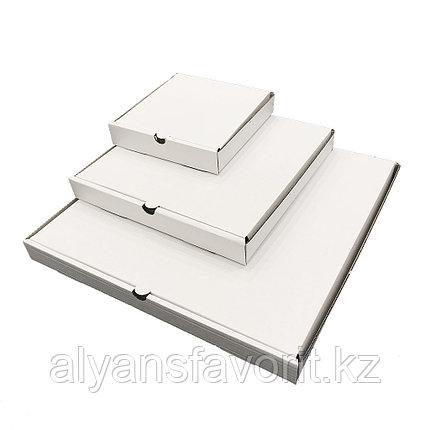 Коробка для пиццы, размер: 400*400*40 мм,гофро, белая. РК, фото 2