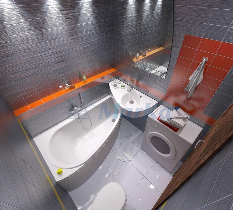 Комплект Пикколо 150*70*660 см (Ванна+каркас+ножки+раковина) (Левая). Ассиметричная. Угловая