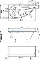 Комплект Пикколо 150*70*660 см (Ванна+каркас+ножки+раковина) (Левая). Ассиметричная. Угловая, фото 2