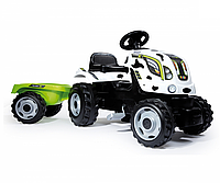 Детский педальный трактор Smoby XL с прицепом Коровка