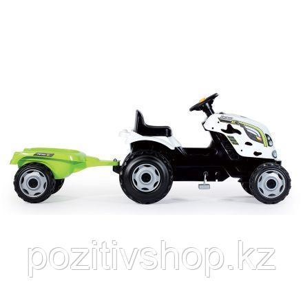 Детский педальный трактор Smoby XL с прицепом Коровка - фото 2