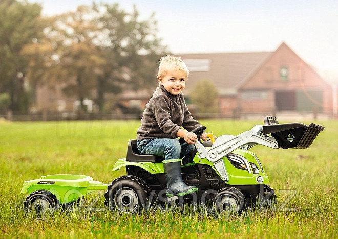 Детский педальный трактор Smoby с прицепом зеленый - фото 1