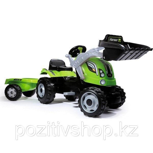 Детский педальный трактор Smoby с прицепом зеленый - фото 2