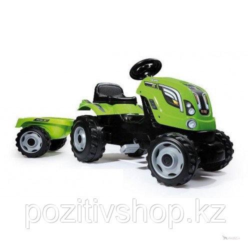 Детский педальный трактор Smoby с прицепом зеленый - фото 3
