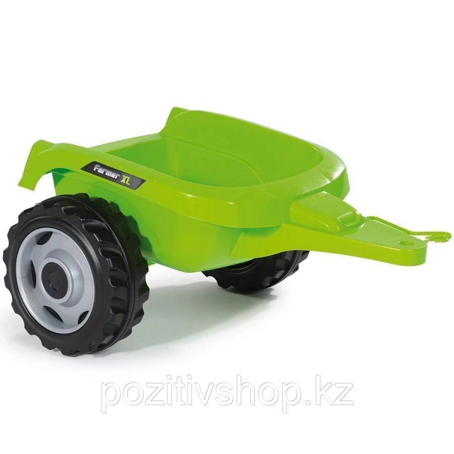 Детский педальный трактор Smoby с прицепом зеленый - фото 4