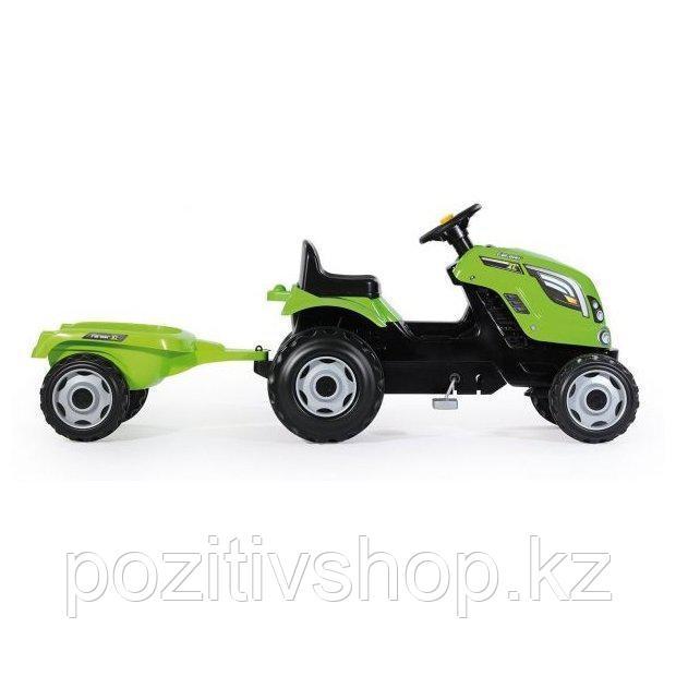 Детский педальный трактор Smoby с прицепом зеленый - фото 5