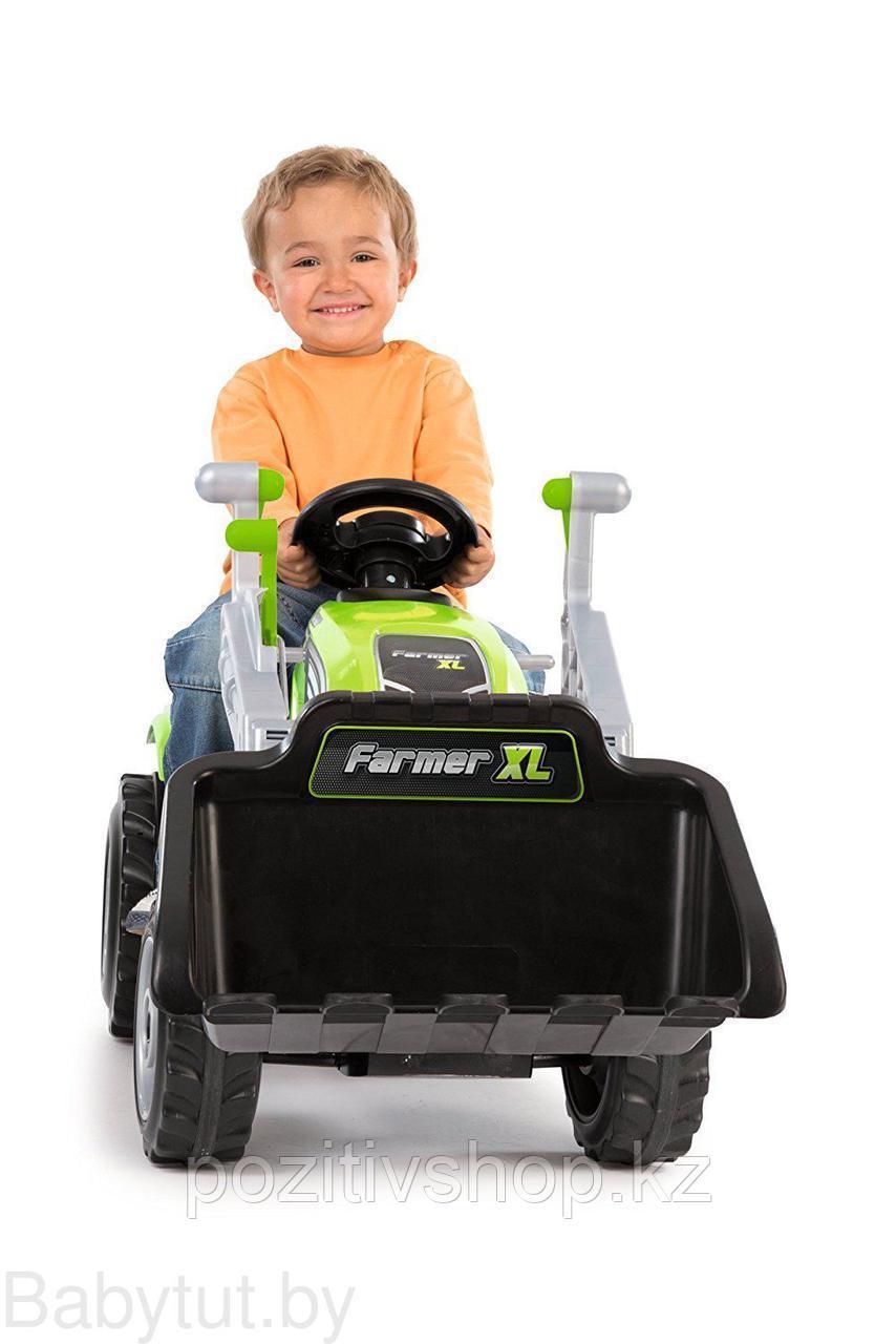 Детский педальный трактор Smoby с прицепом зеленый - фото 6