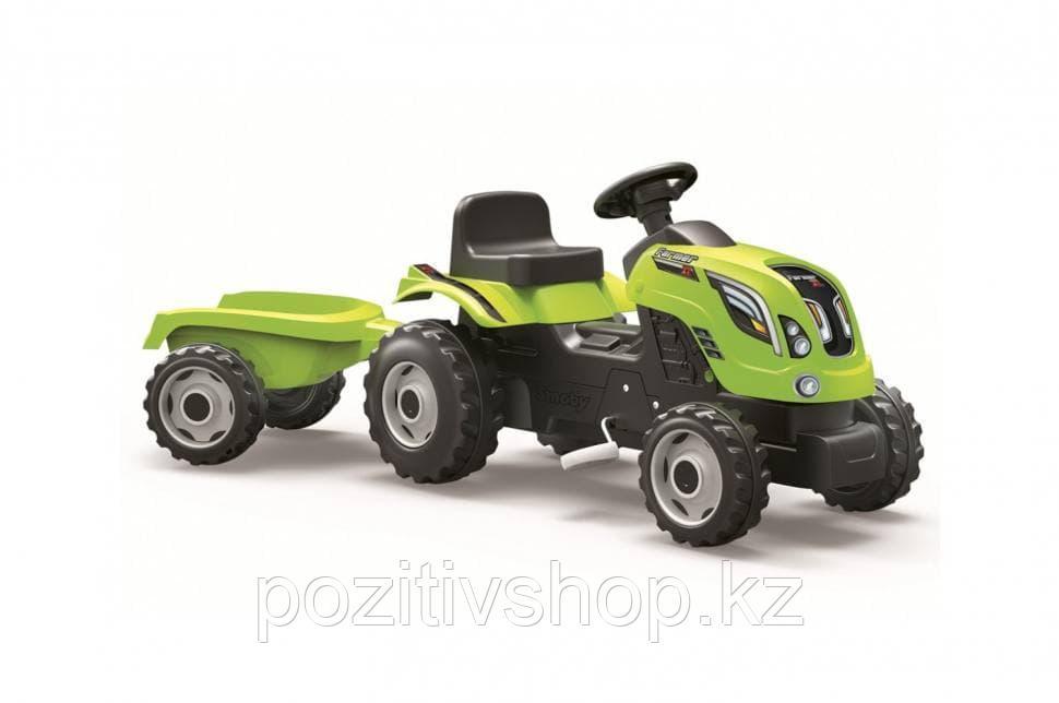 Детский педальный трактор Smoby XL с прицепом зеленый - фото 1