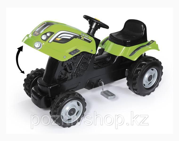 Детский педальный трактор Smoby XL с прицепом зеленый - фото 2
