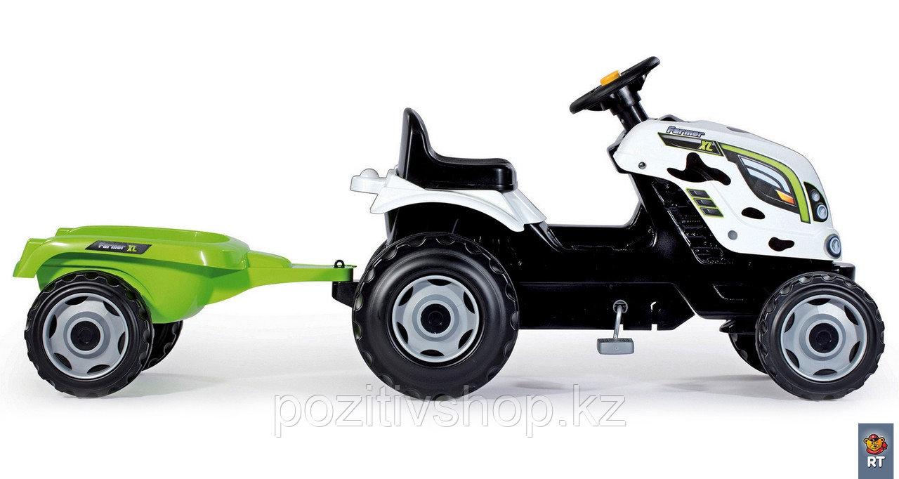 Детский педальный трактор Smoby XL с прицепом зеленый - фото 4