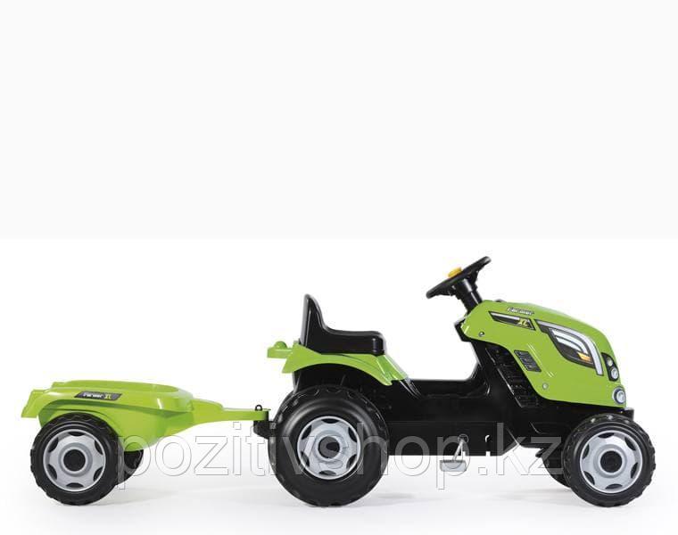 Детский педальный трактор Smoby XL с прицепом зеленый - фото 3