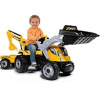 Детский педальный трактор Smoby с двумя ковшами 710301