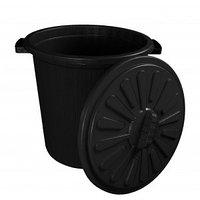 Бак мусорный 35 л с крышкой м/п черный
