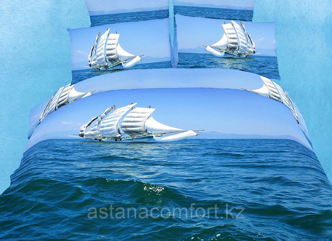 """Постельное белье """"Бригантина"""", евро-размер. Сатин 3D. Турция"""