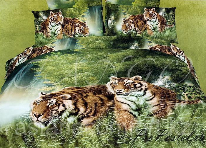 """Постельное белье """"Тигры"""", евро-размер. Сатин 3D. Турция"""