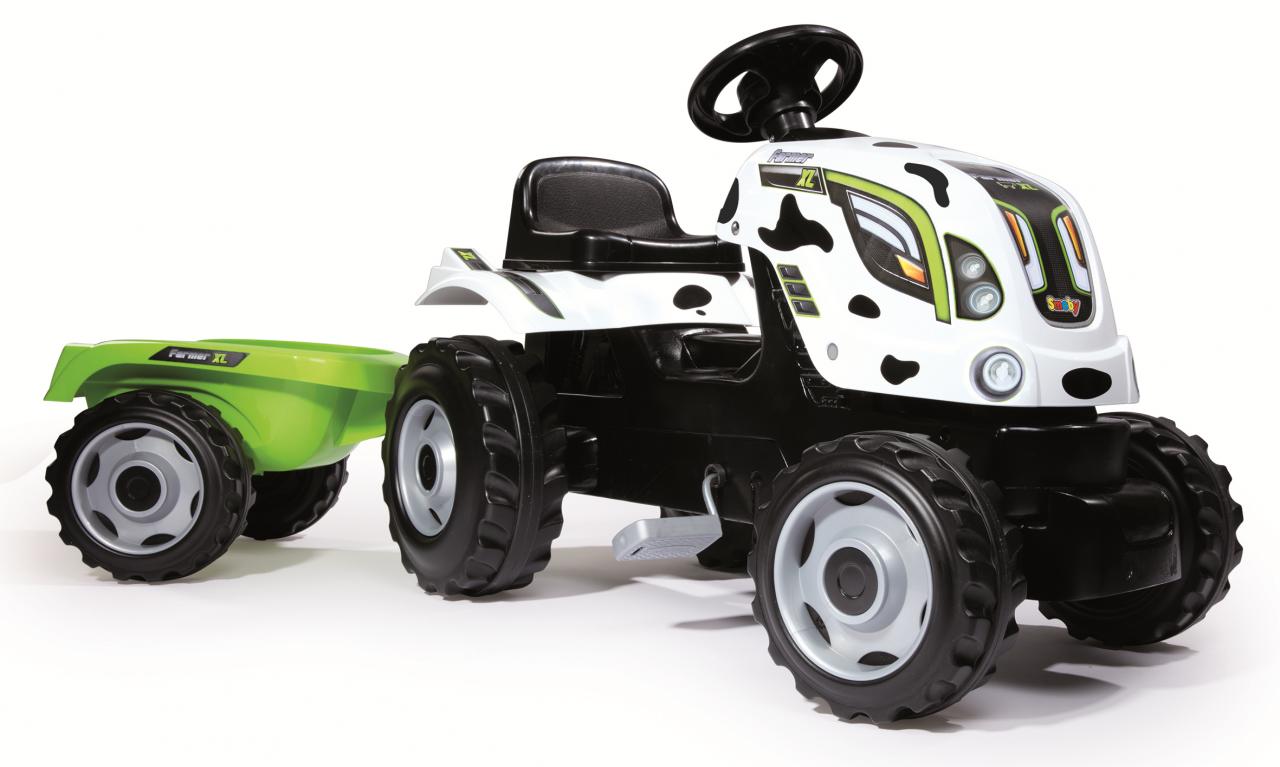Детский педальный трактор Smoby XL Коровка с прицепом - фото 1