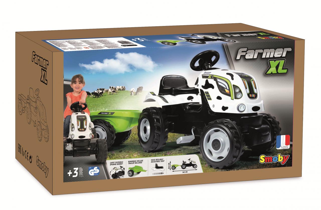 Детский педальный трактор Smoby XL Коровка с прицепом - фото 3