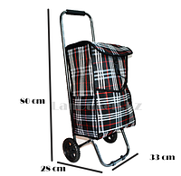 Складная сумка тележка клетчатая, чёрная  металлическая на 2 колесах