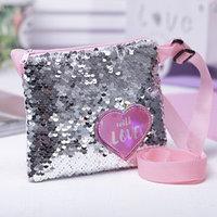 Детская сумка с пайетками, цвет розовый
