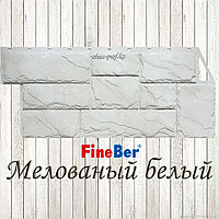 """Фасадная панель  Fine Ber """"Камень крупный"""" (Мелованый белый)"""