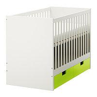 Кроватка детская СТУВА с ящиками зеленый ИКЕА, IKEA, фото 1