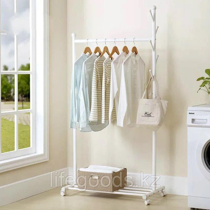 Вешалка напольная для одежды цвет белый, AYH-0377
